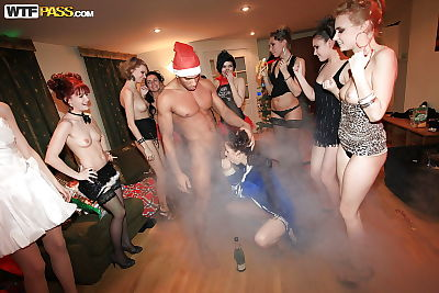 Lusty coeds in nylons accept screwed hardcore at the christmas get-together - part 2