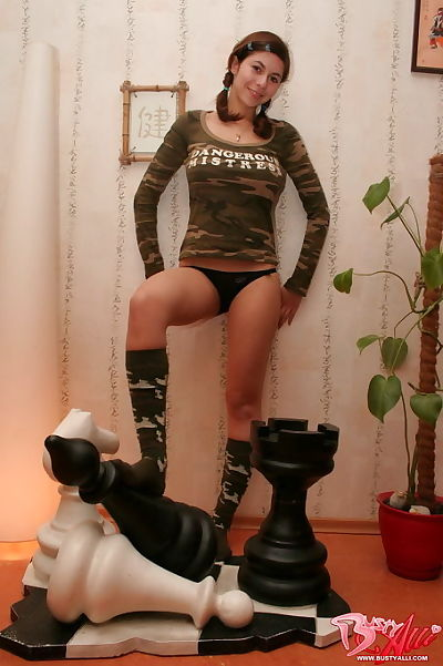 Lustful youthful bitch in incredible army underclothes