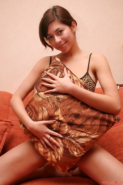 Amateur juvenile youthful broad in tiger underclothes