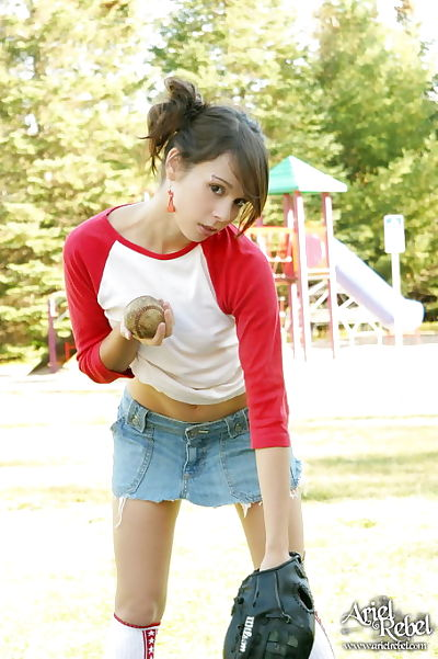 Smokin\' damp and extreme brown hair juvenile plays baseball in horny outfit