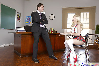 Amateur pornstar Elsa Jean bonked in classroom by tutor in schoolgirl outfit