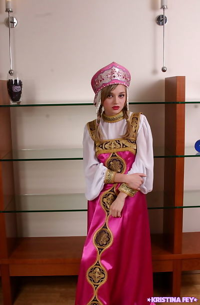 Little 19 fairy-haired takes off her attractive ethnic costume