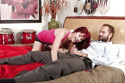 Nice-looking redhead juvenile Sasha Nice-looking gives a bottomless deepthroat oral play