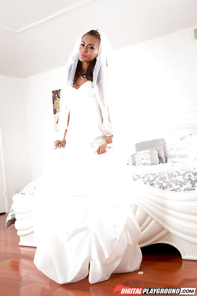 Infant bride Janice Griffith removing wedding suit earlier than playing with dick on mattress