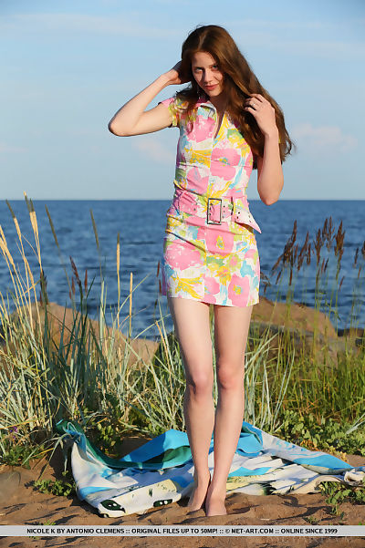Extreme redhead Nicole K suns her hairless cum-hole in nature\'s garb at the beach
